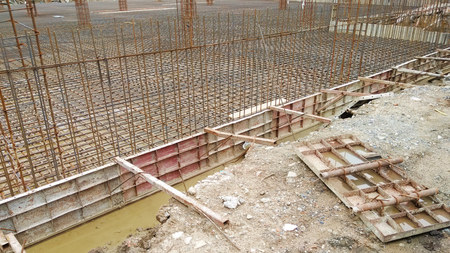 ultimate: Construction site shown ground floor steel bars design used ultimate strength design