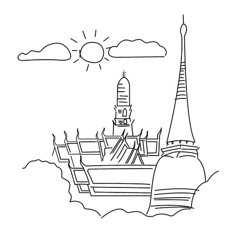 The Grand Palace (Wat pra kaew) Temple of the Emerald Buddha ,full official name Wat Phra Si Rattana Satsadaram in Bangkok ,Thailand, vector, illustrator drawing sketch design