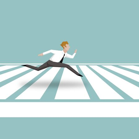 Businessman running across Zebra Crossing