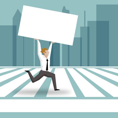 busy street: Businessman running across Zebra Crossing and hold blank paper