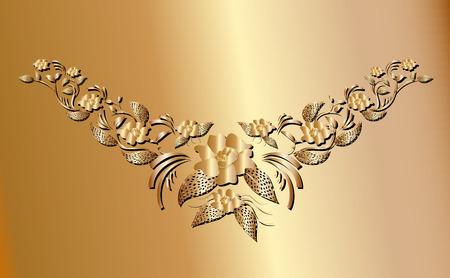 creeper: Golden creeper plant ornament necklace for fashion design