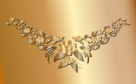 Golden creeper plant ornament necklace for fashion design