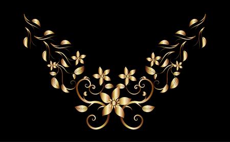 Golden creeper plant ornament necklace for fashion design