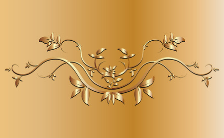 creeper: Golden creeper plant border ornaments for background Illustration
