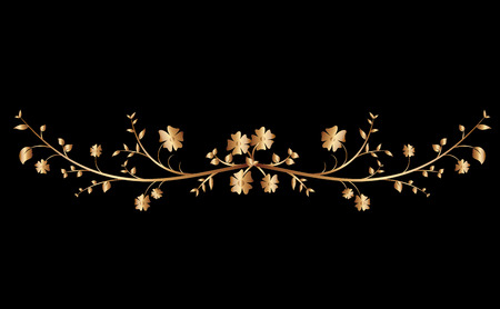 Golden creeper plant border ornaments for background Illustration
