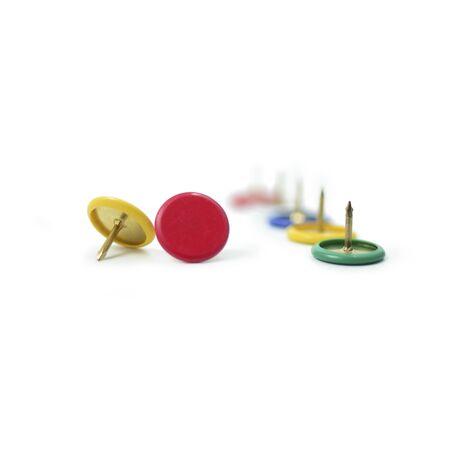 circle pushpin isolated on white background Stock Photo