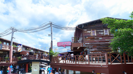 PRACHUAPKHIRIKHAN, THAILAND- JULY 9, 2017: Plearn Wan Vintage Market Village. Here famous for tourist is the retro place for shopping lodging and sightseeing ,Prachuapkhirikhan Province, Thailand