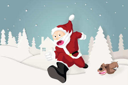 illustration of the dog run to chase santa claus in christmas eve . Design by paper art and craft style