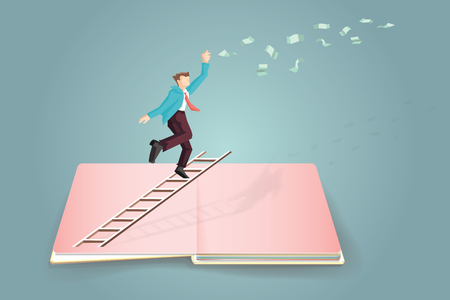Concept of business target with Businessman climbing the ladder and can not reach money