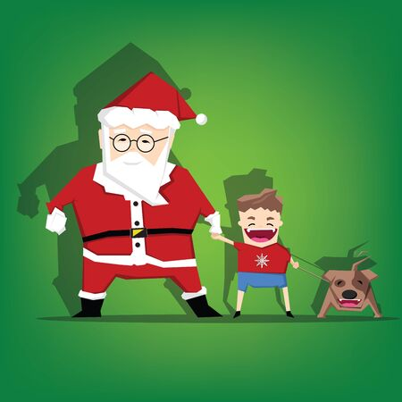Santa claus hand in hand with child and dog,Paper art and craft style