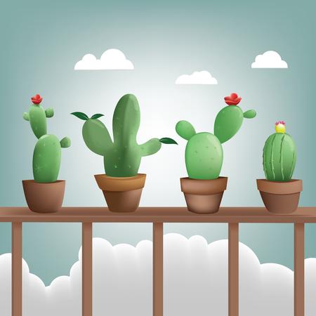 Collection cactus place sur terrasse en bois en arrière-plan, Illustration design plat Banque d'images - 96927397