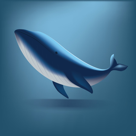 Under the ocean with Queen Whale, Illustration cartoon flat design  イラスト・ベクター素材