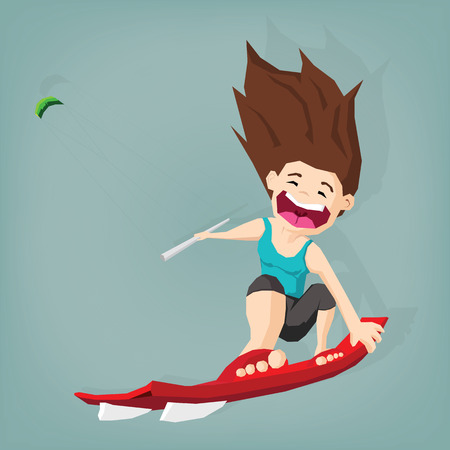 Sport woman drive kite surfing with air kite in tropical sea summer. Vector flat sport concept cartoon character illustration design