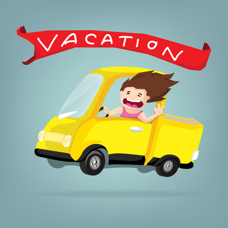 Girl drive cute little retro car and happiness in wonderful summer vacation ,Vector flat business concept and cartoon design