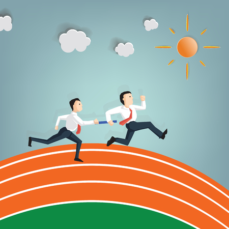 Relay race handing over from businessman to businessman (Success Business concept cartoon illustration)