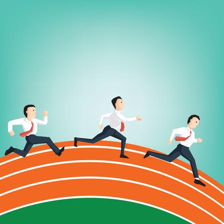 Businesspeople race on track field Athletics (Leadership business concept cartoon illustration)