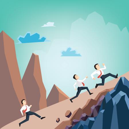 Businessman running racing on mountain ,Concept of flat business cartoon design.