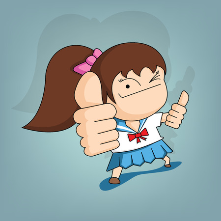 Student girl giving thumbs up (Vector flat concept and cartoon design)