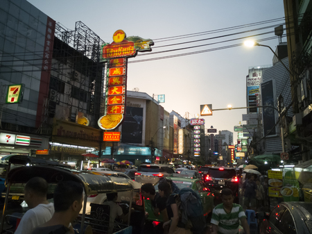 Traffic on Yaowarat Road, the main street of China town of Thailand.