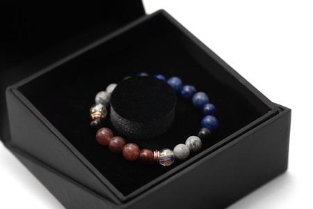 semigem beads bracelet in box set isolate on white background