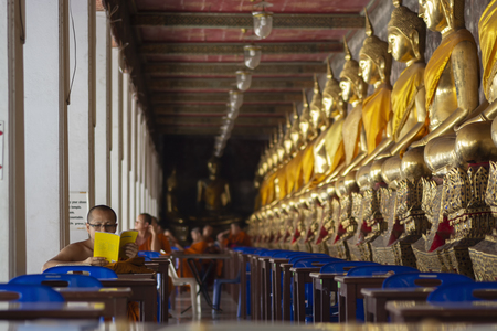 Bangkok, Thailand - March 3, 2019: Crowd of monks prepareing for exam in graduation Buddhist theology at Wat Suthat Thepphawararam ,Bangkok ,Thailand.