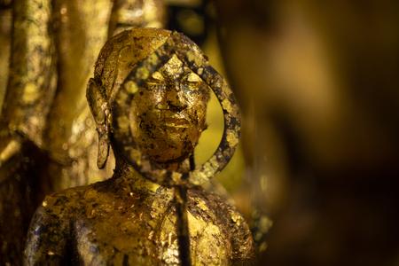Golden buddish state in the art style at watbangpleeyainai temple ,Samutprakan ,Thailand
