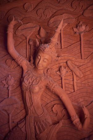 Beautiful Angel stucco tracery sculpture public place in thialnd temple
