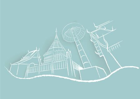Destination of Thailand at Wat Phra That Doi Suthep temple in Chiangmai Province. Sketch and drawing vector design