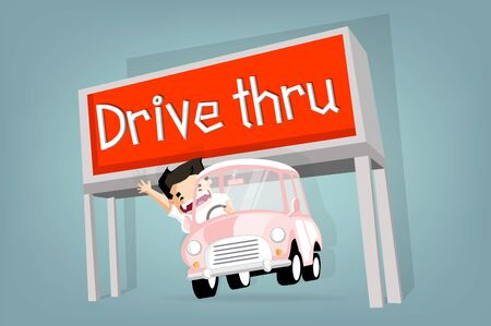 Boy drive  little retro car pass drive thru ,Vector flat  concept and cartoon design