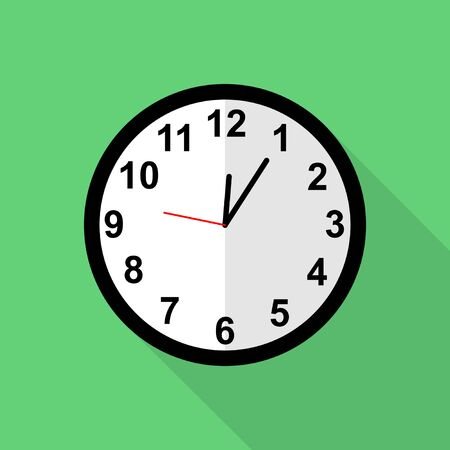 Classic clock icon, Five minutes past twelve o'clock or Five minutes past midnight Vettoriali