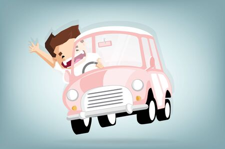 Cheerful boy put hands up and smile when drive car,Vector flat  concept and cartoon design