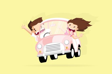 Cheerful couple traveler put hands up and smile when driving car Illustration