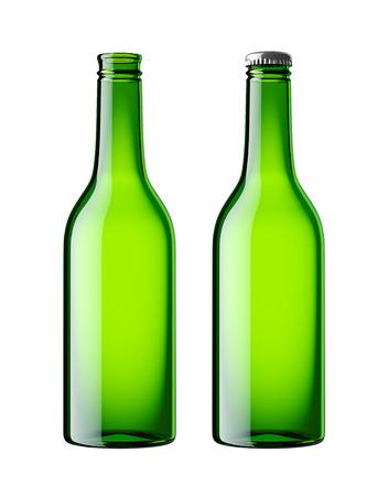 botellas vacias: Aislado botella de cerveza Foto de archivo