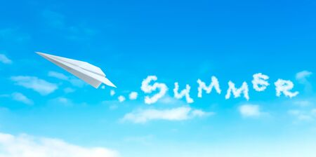 paper plane: Paper plane producing cloud shape that resemble summer word