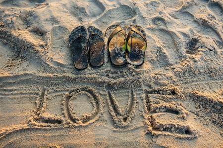 romantics: Sand writing love