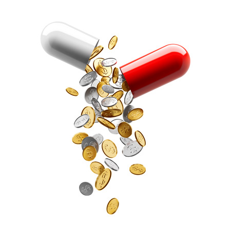medical treatment: Coins pouring from an open capsule Stock Photo