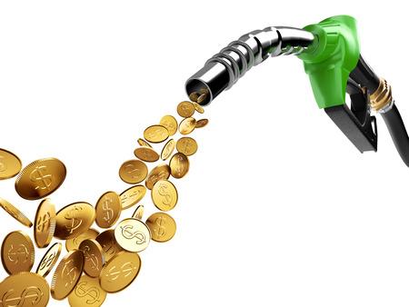 Benzinepomp en gouden muntstuk met dollarteken Stockfoto