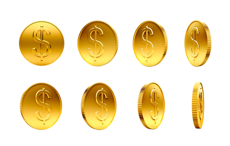 Gold coins with dollar sign isolated on a white background Zdjęcie Seryjne - 44238388