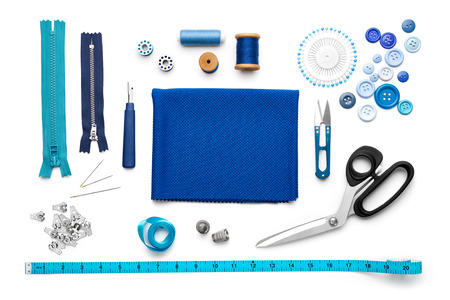 kit de costura: vista aérea de herramientas de costura y accesorios