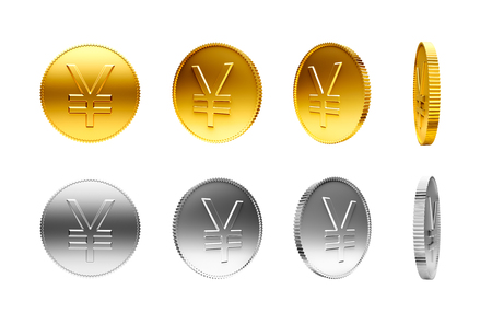 yen sign: Gold and silver coins with Japanese Yen sign isolated on a white background