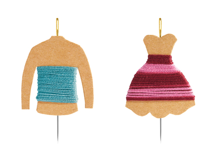 sewing item: DIY Kraft card bobbin with needle - Mannequin with shirt and dress concept
