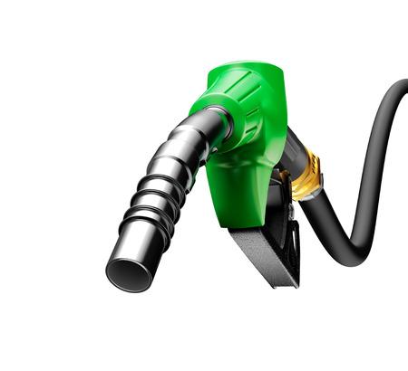 Benzinepomp op een witte achtergrond wordt geïsoleerd die