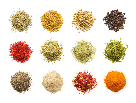 crushed red peppers: Collection of different spices and herbs isolated on white background Stock Photo