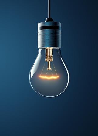 glowing light bulb: Hanging glowing light bulb on blue background