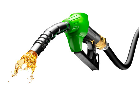 Gasoline gushing out from pump isolated on white background Stockfoto