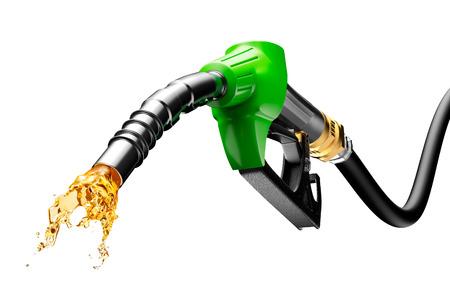 Benzine stromende uit van de pomp op een witte achtergrond