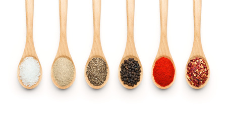 chilli: Wooden Spoon filled with various spices on white background