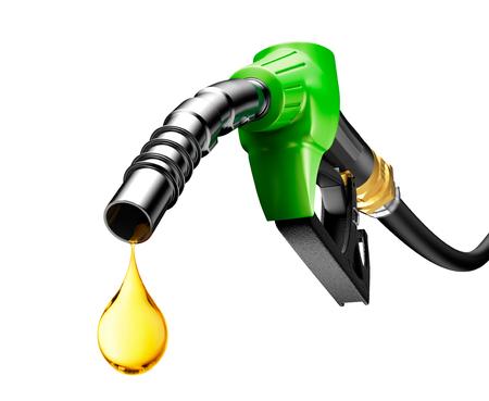 L tropft aus einem Benzin-Pumpe isoliert auf weißem Hintergrund Standard-Bild - 47684181