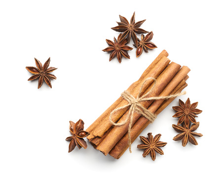 barks: Cinnamon and star anise on white background