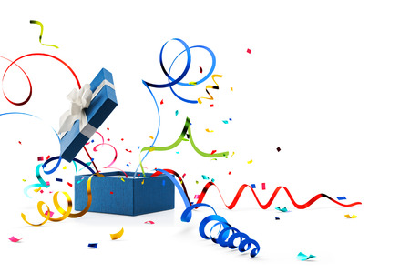 Ribbon and confetti popping out from blue gift box isolated on white Stockfoto